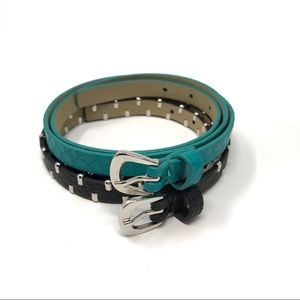 Accessories - Women's Set Of Two Thin Belts Black and Teal